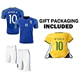 JerzeHero Brazil Neymar Jr #10 Kids Youth Soccer Gift Set ✓ Soccer Jersey ✓ Shorts ✓ Drawstring Bag ✓ Home or Away ✓ Short Sleeve or Long Sleeve