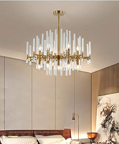 FEE-ZC Moedern Semi Flush Mount Ceiling Light Brass, Chandeliers Clear Glass Lampshade Pendant Lamp E27 Socket Dining Room Living Room Bedroom 110v 220v, A