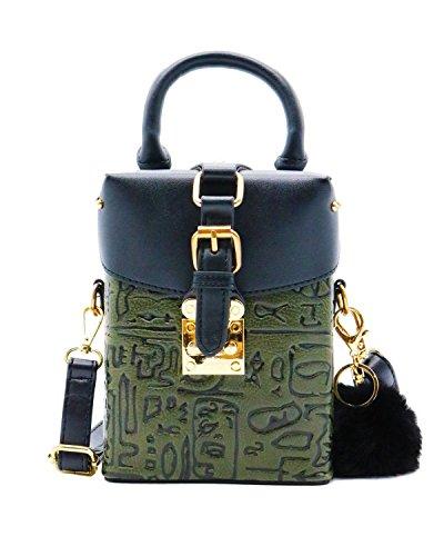 ZEN - Women Retro Crossbody Bag Mini Sholder Handbag Cellphone Pouch With Fur (Green) by Find The Edge