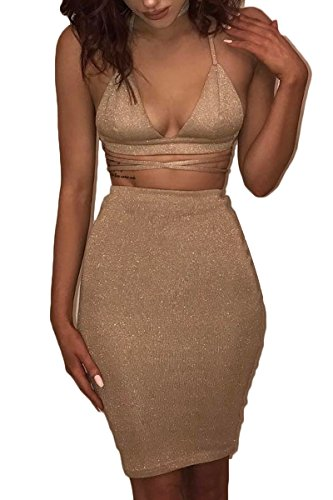 ioiom Women Gold Metallic V-Neck Halter Sleeveless Knit Bodycon Midi A Line Dress Gold M