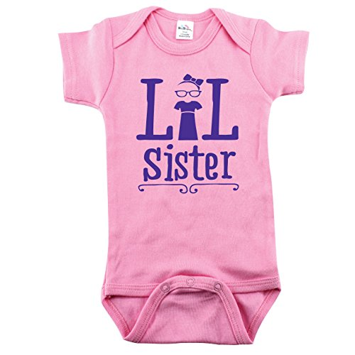 Price comparison product image Texas Tees Little Sister Bodysuit, Smart Little Sister, Baby Girl Outfit, Light Pink 0-3 mo
