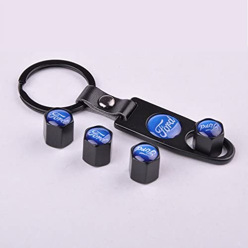 Keychain For Ford Set of 4 Car Tire Valve Stem Air Caps Cover