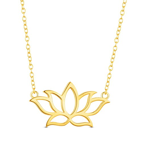 SHEGRACE 925 Sterling Silver 18K Gold Plated Necklace Pendant with Lotus Flower Golden 17.3