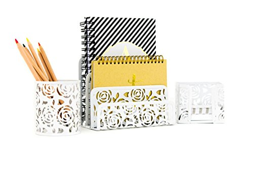 White Desk Accessories Organizer Set- 3 Piece Metal Set - Fun, Stylish Cute Design - Stores Letters, Paperwork, Pens, Pencils, and Sticky Notes