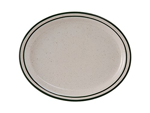 Tuxton TES-012 Vitrified China Emerald Oval Platter, Narrow Rim, 9-1/2