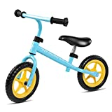 Bable 10″ Kids Balance Bike, Lightweight Toddler Push Bike with Adjustable Handlebar&Quick-Release Seat, No-Pedal Training Bicycle 50lb Capacity for Ages 18 Months to 5 Years, Blue