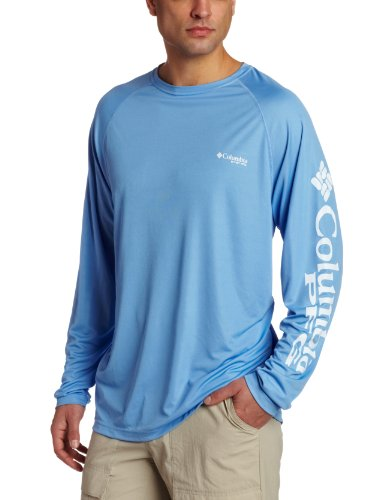 Columbia Men's PFG Terminal Tackle Long Sleeve Tee , White Cap/White Logo, Large
