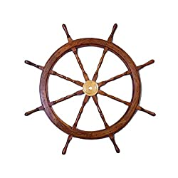 48 Deluxe Class Wood and Brass Decorative Ship Wheel ,Boat Steering Pirate Vintage ,