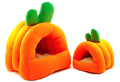 - Dinnx Hamster Bed House Soft Warm Cushion for Small Animal - Cute Carrot Shaped Warm House Sleep Mat Pad for Hamster/Guinea Pigs/Hedgehog/Squirrel/Mice/Rats/Chinchilla - Orange & Green (Large)