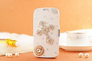 Handmade Luxury 3D Cross Crystal White Leather Flip Case Cover For Samsung Galaxy S3 Mini 234O