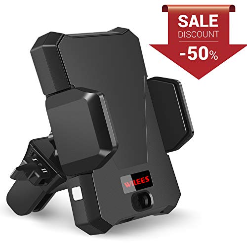 WiLEES Automatic Qi Wireless Car Charger Mount Infrared Induction Car Phone Holder for iPhone Xs Max X XR 8 Plus, Samsung Galaxy S9 S8 Plus Edge Note 9 Includes Dual Charger