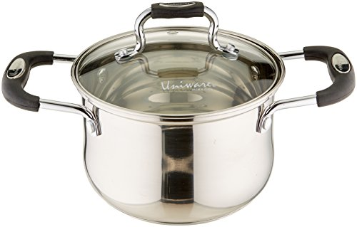 Uniware Stainless Steel Deep Sauce Pot With Lid,Oven Safe PTFE-PFOA-Free ,Silver (2.0 QT)
