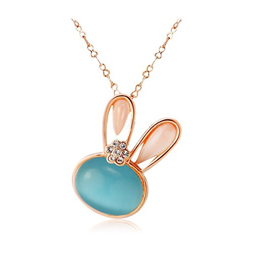 Hktc 18k RGP Alloy with Green Opal Decoration Rabbit Head Shaped Pendant Necklace