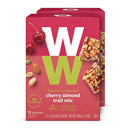 WW Cherry Almond Trail Mix Mini Bar - High Protein Snack Bar, 2 SmartPoints - 2 Boxes (24 Count Total) - Weight Watchers - Cherry Breakfast
