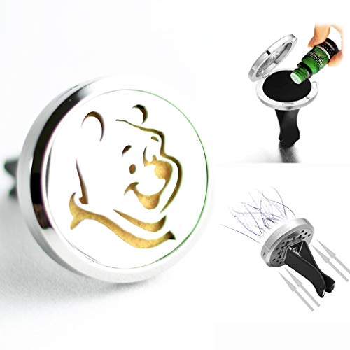 FIKA Winnie The Pooh Car Air Freshener Diffuser Vent Clip Locket Aromatherapy Essential Oils Great for Travel Pads Included