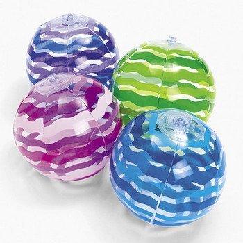 Mini Inflatable Striped Beach Balls (1 dz) by Fun Express