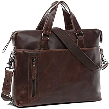 Image of Cases & Sleeves BACCINI real leather laptop bag LEANDRO large business office work school shoulder bag 15 inch satchel briefcase 15.6' men´s bag brown
