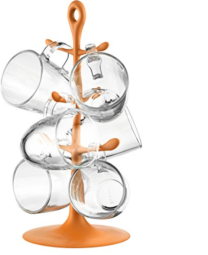 Bodum Copenhagen - Mug Tree Set with 6 Borosilicate Glass Mugs - Orange - 0.35l, 12oz - Bodum Teacups
