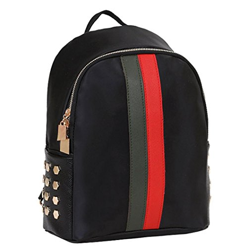 VIASA Summer Women Girls Preppy Fashion Rivet Shoulder Bookbags Leisure School Travel Backpack Bag (Black, B)