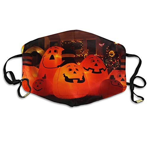 (Fashion Outdoor Mouth Mask with Design, Reusable Half Face Mask Anti-dust Mask, Womens Winter Warm Mouth Anti-Dust Flu Face Mask Happy Halloween Pumpkin Light On The)