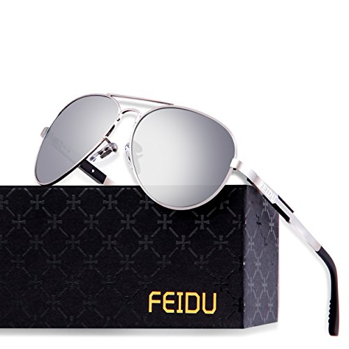 FEIDU Mens Polarized Aviator Sunglasses Metal Frame Unisex Sun Glasses FD9001 (Silver/Silver, 2.28)