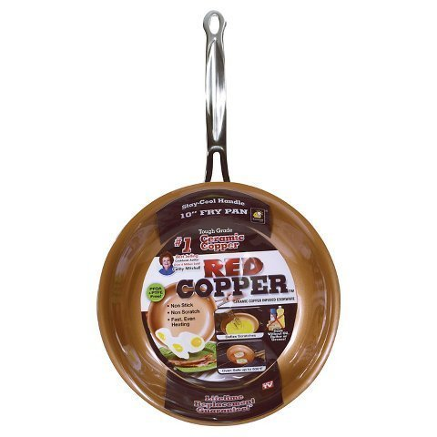 New As Seen On TV Copper 10 inch Frying Pan - Red