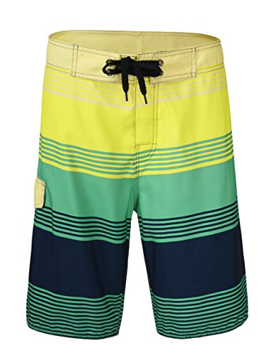 Nonwe Men's Tropical Stripe Beach Shorts Swim Trunks with Mesh Lining 11940-36