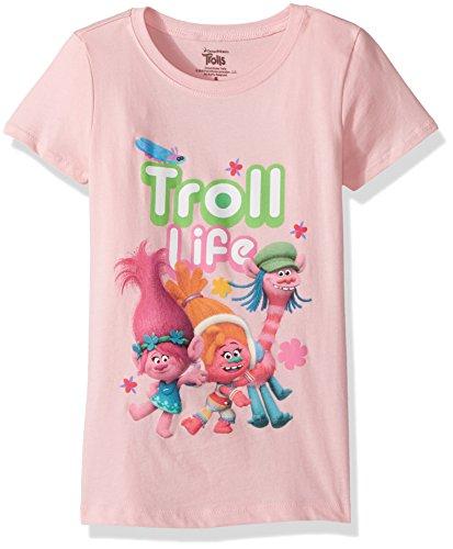 Pink Girls Cap Sleeve T-shirt (Trolls Big Girls' Cap Sleeve T-Shirt, Light Pink, S-7)