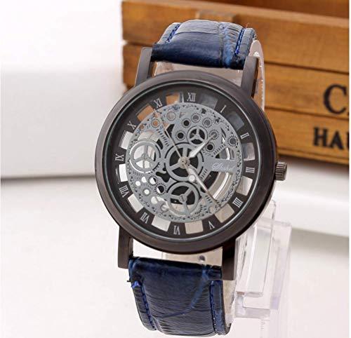 Hot Sales Skeleton Leather Band Watch Men Engraving Hollow Dress Quartz Wristwatch Women Clock. Dial Diameter:42mm. Band Width:19mm