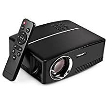 Tronfy Projector, GP80 1800 ANSI Lumens Portable Video Projector Home Cinema Theater Movie Night, VGA USB HDMI Support Smart Phone Tablets Laptops Full HD Games, AC Adaptor Included – Black