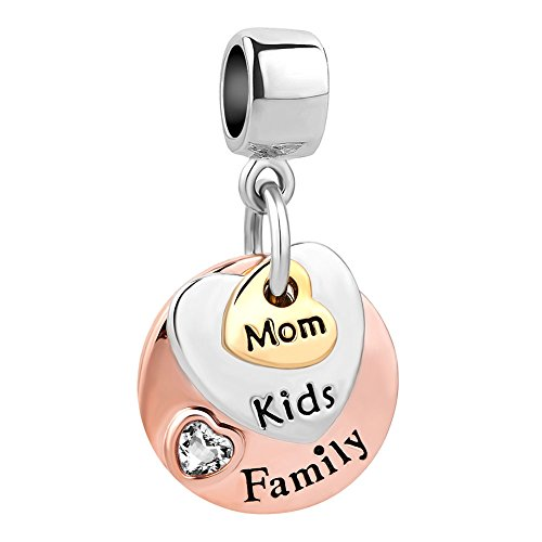 CharmSStory Family Rose Gold Mom Kids Child Charm Bead for Bracelets (White Family Mom ()