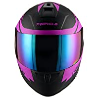 Triangle motorcycle full face dual Visor helmets (Large, Matte Black/Purple) by Jinhua Bokai Motorcycle Fitting Co.,LTD