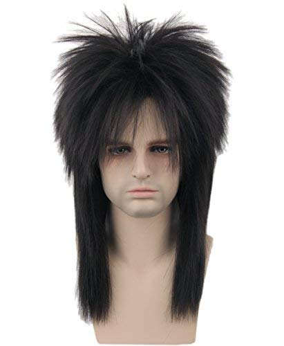 Topcosplay 80s Wig Clothes Fashion Halloween Costume Accessory Punk Metal Rocker Mullet Wig for Men Women -