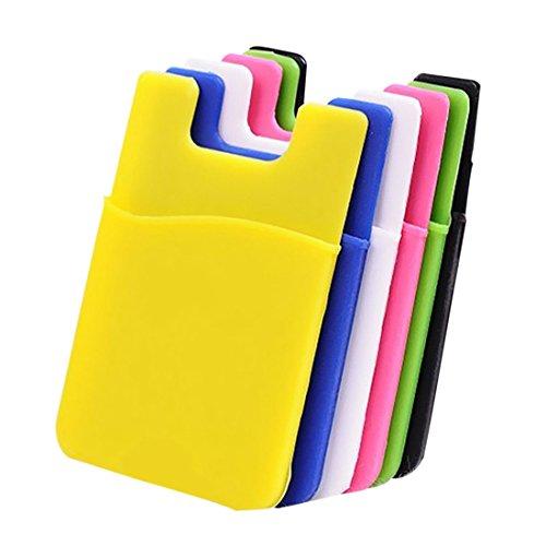 Caja de la tarjeta del telefono movil - SODIAL(R) Caja sostenedor de pegamento adhesivo de efectivo tarjeta credito de monedero de silicona para telefono movil del iPhone
