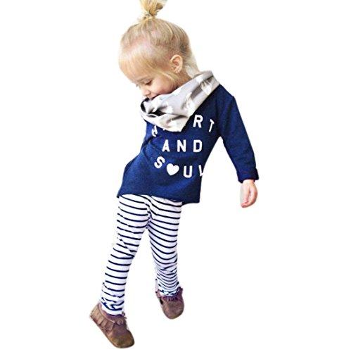 Mosunx(TM) Girl Outfit Clothes Letter Print T-shirt Tops+Stripe Long Pants 2Pcs/Set (5T, Blue)