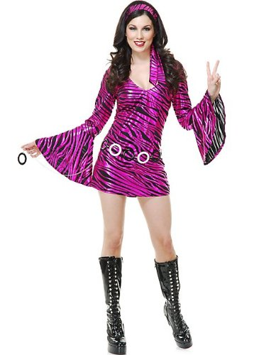 Black Disco Diva Costume (Women's Small 5-7 70s Zebra Diva Costume Black Fuchsia Striped Disco Dress)