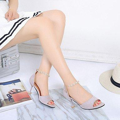 LvYuan Mujer Sandalias PU Verano Paseo Perla Tacón Stiletto Negro Gris Amarillo 5 - 7 cms Black