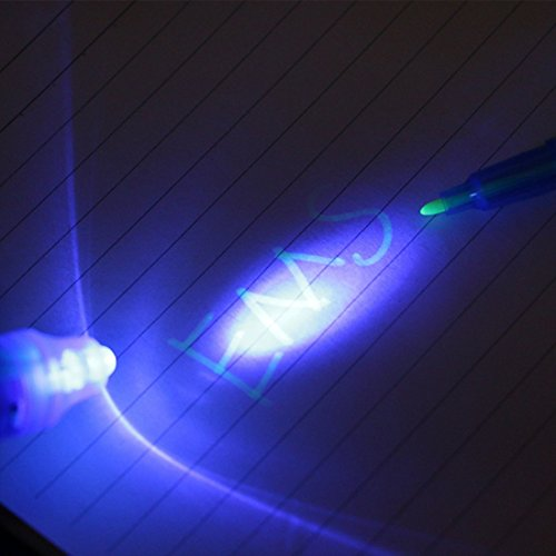 Invisible ink Pen With UV Light 24 Pack Stock Stuffer Spy Pens With Uv Light For Kids Secret Message Party Fun Activity Favors - Magic Marker Pen Diary Marker Notes by Mega Shop (Image #4)