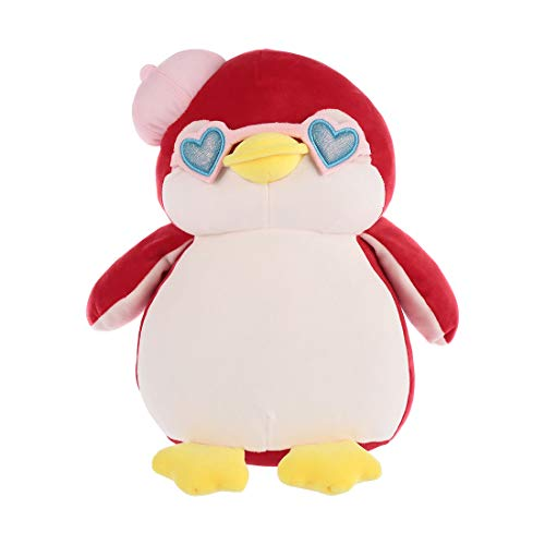MINISO Cute Penguin Plush Toy Pillow Lovely Stuffed Animal with Pink Hat, for Kids 13 Inches