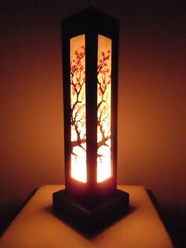 Cherry Paper Floor Lamp - Thai Wood Lamp Handmade Oriental Japanese Red Sakura Cherry Blossom Tree Branch Bedside Table Lights or Floor Home Decor Bedroom Decoration Modern Design