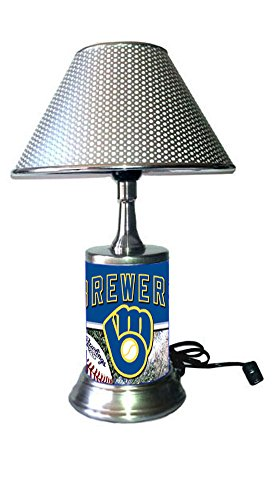 (JS Brewers Table Lamp with Chrome Shade, Your Favorite Team Plate Rolled in on The lamp Base, MB, MLB )