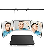 Portable 3 Way Trifold Mirror, 360°Self Cut System Barber Mirror for Hair Cutting, Shaving, Hair Styling, Grooming, Dye Hair and Makeup with Adjustable Height Brackets, Good for Travel Home Bathroom