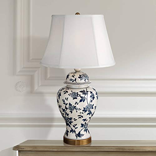 Traditional Table Lamp Crackle Ceramic Blue and White Rose Vine Temple Jar White Bell Shade for Living Room Family - Barnes and Ivy Antique White Crackle Porcelain