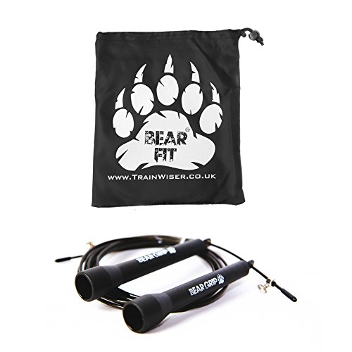 BEAR GRIP - Best Skipping Speed Jump Rope, Adjustable 10ft Cable, (STEEL BALL-BEARING mechanism) For Cardio, Boxing, MMA, Crossfit with FREE GYM GEAR BAG