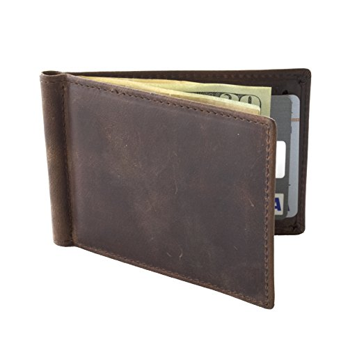 WAVY Leather Money Clip Wallet, Slim Bifold with RFID Blocking (Brown) (Folding Money Clip)