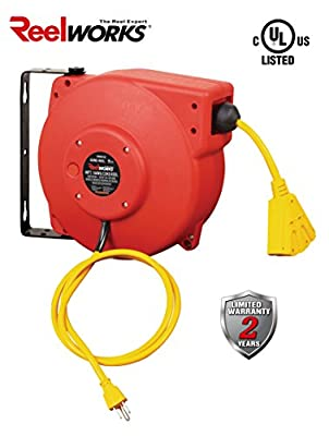 ReelWorks Heavy Duty Extension Cord Reel With Swivel Bracket , 14AWG/3C SJT, Triple Tap, 40 ft.