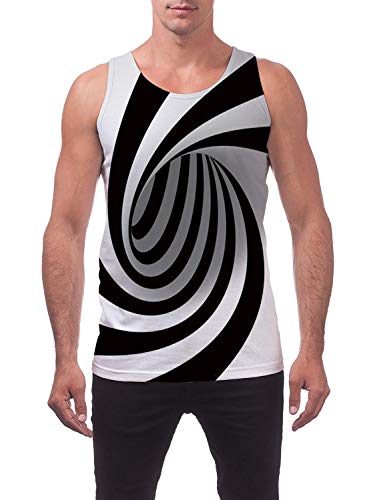 Freshhoodies Tank Tops for Men Bro Grey Swirl All-Over Graphic Print Tank Shirts Summer Holiday Art Tank Top (A1-Swirl, XX-Large)