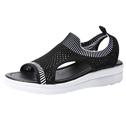 NEEKEY Women's Wedge Sandals Summer Casual Flip Flop T Straps Hollow Slip On Sport Stlye Casual Flock Shoes