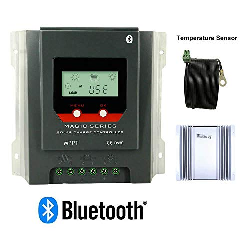 PowMr MPPT Charge Controller 30A - Negative Ground 12V/24V auto,Built-in Bluetooth and Weatherproof Solar Charge for Lithium/Sealed/Gel/Flooded Batteries,LCD Display Energy-Recording