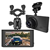Dash Cam for Cars 1296P FHD Super Night Vision 3 Inch Touch Screen with Rearview Mirror Mount Suction Cup Mount Built-in G-Sensor Looping Record